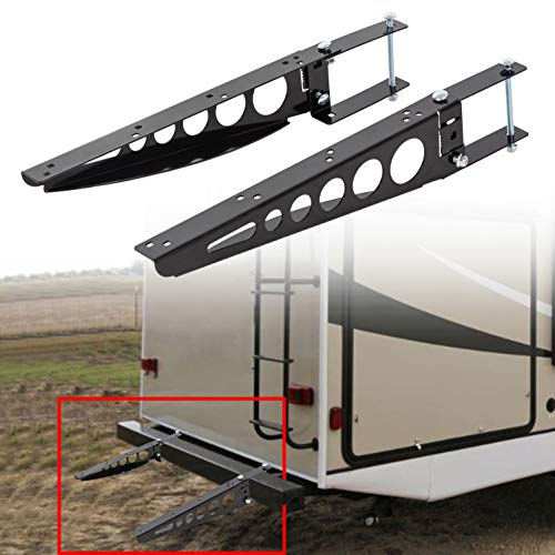 """ECOTRIC Universal RV 4"""" Square Bumper Mounting Mounted Cargo Carrier Box Support Arms Bracket Mounting Racks. (A Pair!)"""