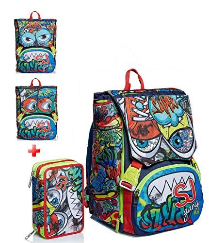 Schoolpack - Facce da SJ Boy - Zaino Sdoppiabile + Astuccio 3 Zip