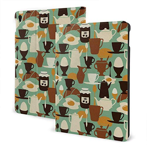 ZSMJ Ipad case Breakfast Pattern Eggs Jam Coffee and Bagel Slim Lightweight Smart Shell Stand Cover Case forair 1/2 (9.7inch)