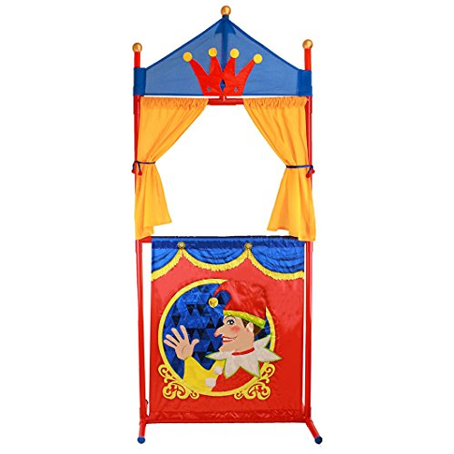 IQ Toys Deluxe Puppet Show Theater Sturdy Non-Top Base Fold-able and Easy to