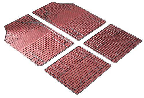 Walser 28055 Universal Auto Gummimatten, Fußmatten, Schmutzfangmatte, 4-teilig, zuschneidbar, rot schwarz