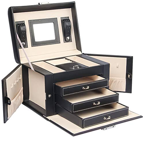 Yorbay Caja Joyero con Espejo y 3 Cajones, Caja para Joyas, para Pendientes, Pulseras, Anillos, Almacenamiento y Expositor, Bloqueable, Negro Reutilizable