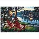Silla mecedora Fantasy Lake para niños adultos Principiante Pintura por números con pincel Decoración del hogar 40X50CM-No Frame