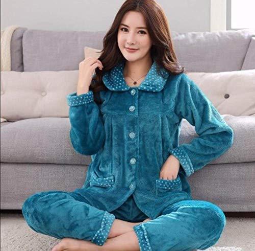 ZHRDRJB Schlafanzug Damen Pyjama Set,2 Stücke Herbst Winter Pfau Blau Flanell Langarm Pyjamas Anzug Dick Warm Koralle Fleece Sleepwear Weibliche Plus Größe Nachthemd Homewear, XL