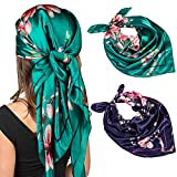 Chalier 2 Pcs Silk Head Scarf for Women Lightweight Soft Neck Scarf, Silk Bandana Satin Head Scarf for Women for Holiday, Good Gift(35 x 35 Inches)