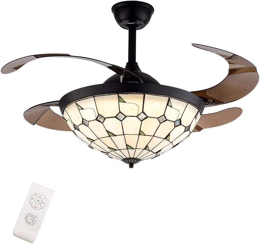 Luxury 42 inch Classic Tiffany Sale Style Blade Ceiling with Fan Retractable