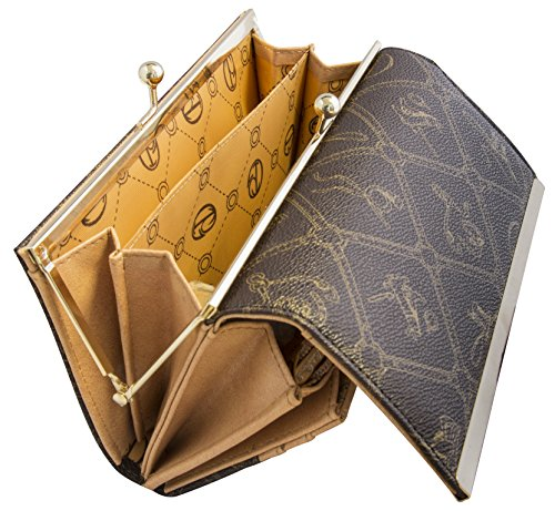 Giulia Pieralli Damen Portemonnaie Clipverschluss Kugelverschluss Geldbörse viele Fächer XXL Ausführung + Geschenkbox Kunst Leder 0444