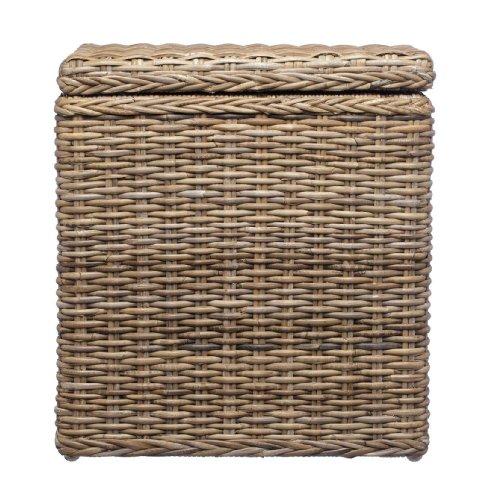 URBANARA Wäschekorb 'Java' - 100% Rattan mit Baumwollinlett, Dunkelbraun, halbrunde Wäschetruhe mit Klappdeckel - 51 x 37 x 63 cm, Aufbewahrungstruhe, Wäschebox, Eck-Korb