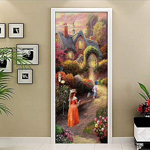 Mural Para Puerta Villa Jardín Europeo Sala De Estar Dormitorio Desmontable Autoadhesivo Papel Pintado Puertas 90 X 200 cm