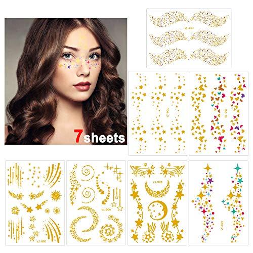 Konsait Tatuajes temporales para adultos Mujer (7 hojas), impermeable Metálico Oro Tatuaje Temporal cara tattoo Adhesivos