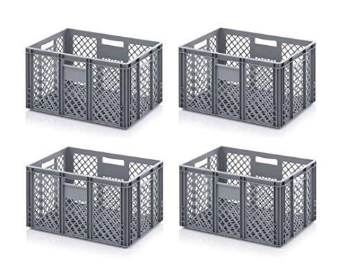 4x Bäckerkiste Cateringbox 60 x 40 x 32 durchbrochen inkl. gratis Zollstock 4er Set