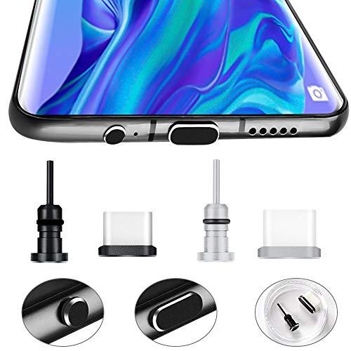 Golrisen 2X Staubschutz USB C Staubstecker für Handy Anti Staub Stecker Aluminium Staubstöpsel USB C Staubschutzkappe Typ C Schutzkappe mit Staubschutz Stöpsel Kopfhörer für Smartphone Schwarz Silber