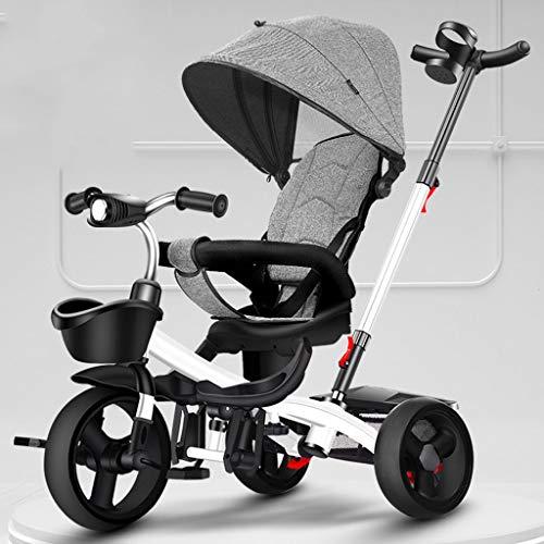 Jixi Kinderdriewieler Opvouwbaar Draagbaar Kind Fietskar Met Pedaal Verstelbare Trolley Roterende Stoel Opslag Frame Luifel