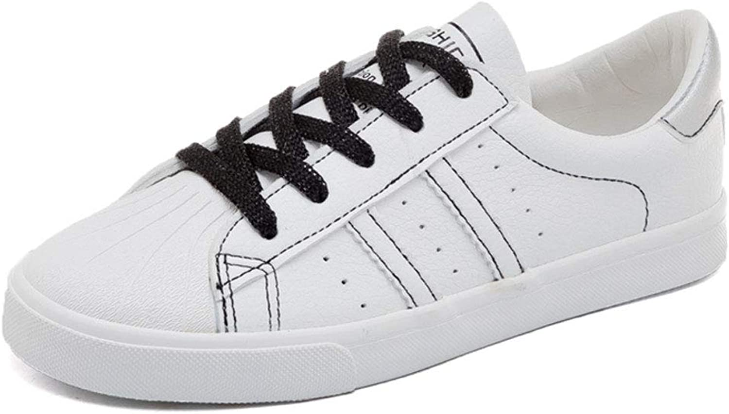 Women's White Low Top Sneakers Fashion Lace-up shoes Breathable PU Leather Casual shoes