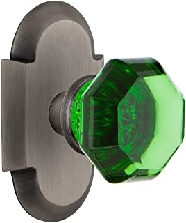 Nostalgic Warehouse 724234 Cottage Plate Privacy Waldorf Emerald Door Knob in Antique Pewter, 2.375