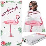 Flamingo Beach Towel Microfiber Pool Beach Towels 30 x 60 Inches Hawaiian Party Bath Towels Quick Dry Beach Blanket Summer Hand Towels for Travel Sports Swim Spa Girl Women Men Teen