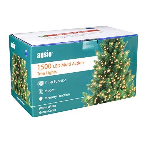 ANSIO Les lumineuses d'arbre 1500 LED Blanc chaud les d'arbre à l'intérieur et à l'extérieur de Noël allume la, actionné des lumières de fée 37,5m/123ft allumé-longueur avec le fil de raccordement