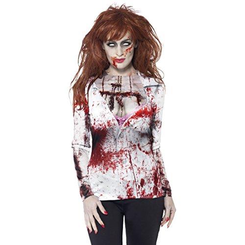 Amakando Camisa ensangrentada Halloween Camiseta Zombie Mujer L 44/46 Outfit de Terror para Mujer Ropa Fiesta Halloween Blusa terrorífica con Sangre Manga Larga Muerto Viviente