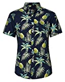 Loveternal Funky Camisa Pineapple Casual Botón Abajo Camisa Hawaiana Camisas Verano Hombre Algodón de Manga Corta 3D Camisa Piña XL