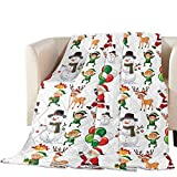TweetyBed Cotton Quilted Comforter Merry Christams Cartoon Raindeer Santa Claus Snowman Quilted Throw Blanket Soft Breathable Quilt Bedspread Lightweight Coverlet All Season, Oversized King