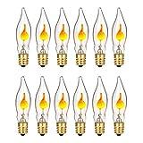 12 Pack C18 Flicker Flame Light Bulbs,Flickering Flame Shaped E12 Base 3 Watt Bulbs for String Light