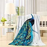 Flannel Fleece Bed Blanket 60 x 80 inch Peacock Throw Blanket Lightweight Cozy Plush Blanket for Bedroom Living Rooms Sofa Couch - Peacock Stand On Branch Wildlife Colorful Tropical Animals