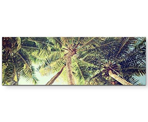 Paul Sinus Art Leinwandbilder | Bilder Leinwand 120x40cm Palmen Froschperspektive Vintage