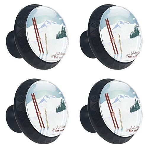 COOSUN Bergen en Oude Snowboard in Sneeuwlade Knop Pull Handvat Kristal Glas Cirkel Vorm Kast Trekken Kast Kast Knopen met Schroeven voor Thuis Kast Cupboard (4 Stuks)