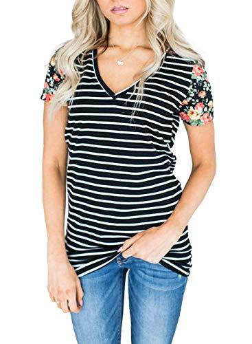 CORAFRITZ Camiseta de Manga Corta con Estampado Floral de Moda para Mujer Blusa a Rayas con Cuello en V Tops Casuales de Verano
