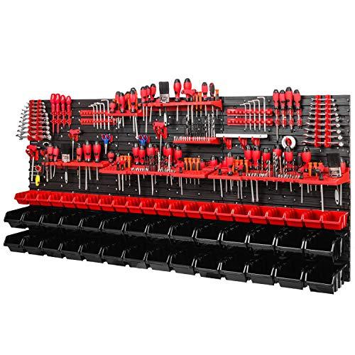 Werkstattregal Wandregal | 1728 x 780 mm | Lagersystem mit Werkzeughalterungen und Stapelboxen - Wandplatten Extra Starke Werkstattregal Schüttenregal (Rot/Schwarz)