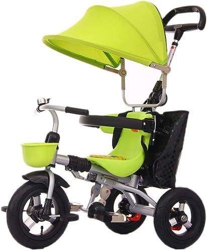 NBgy Dreirad, EIN-Tasten-Klappmultifunktions-Dreifach-Dreirad mit Markise, 1-6 Jahre altes Baby-Dreirad im Freien, 4 Farben, 105 x 75x45 cm