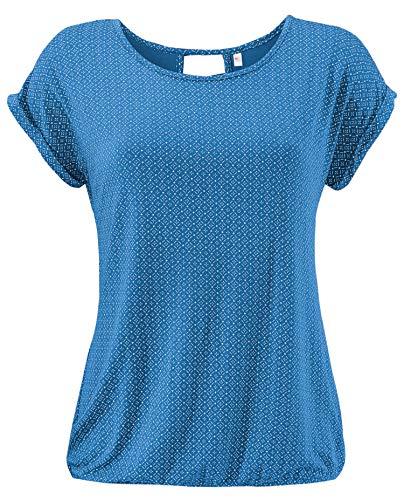 ELFIN Damen T-Shirt Kurzarm Blusen Shirt mit Allover-Minimal Print Lose Stretch Basic Tee, Blau, XXL