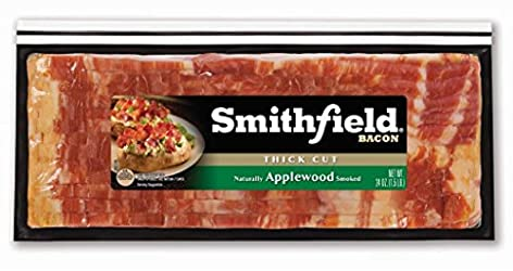Smithfield, Naturally Applewood Thick Cut Ready to Cook Smoked Bacon made with Sea Salt, 24 oz