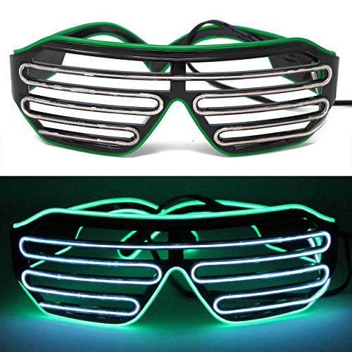 ifancy LED Shutter Shade Brille - Leuchtbrille Bicolor Sonnenbrille Partybrille - Konzert Disco Malle Silvester Karneval Rave Club & Co. Rotze Voll