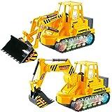 RuiDaXiang Auto Giocattolo di ingegneria Set, 2pcs Escavatore e Bulldozer per Auto Giocattolo per Veicoli Tecnici Bambini con luci e Suoni