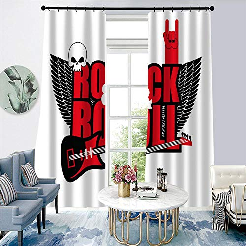 BLZQA Cortinas Opacas Cortina térmica Guitarra de Rock Ojales Cortina Infantiles Habitaciones Poliéster Tejido Salón Dormitorio Decoración de la Ventana 75 cm x 166 cm x 2
