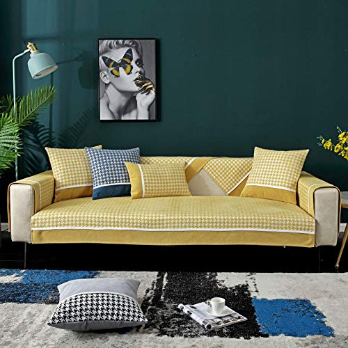 Lounge Sofa Protector,Sectional Sofa shield for Fabric/Leather couch,Houndstooth sofa cushion cover, universal non-slip sofa slipcovers for living room/bedroom/office/shop, chenille sofa covers-A_70*