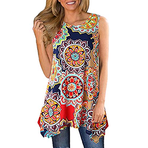 F_Gotal Womens Tank Tops Summer Print Irregular Casual Loose Vest Cami Shirts Blouse Tops Sleeveless for Ladies Girls Red