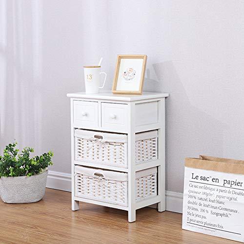 Keinode Mesita de noche de almacenamiento con 2 cajones de mimbre, mueble de cajones para sala de estar, dormitorio, cuarto de baño, pasillo (blanco)