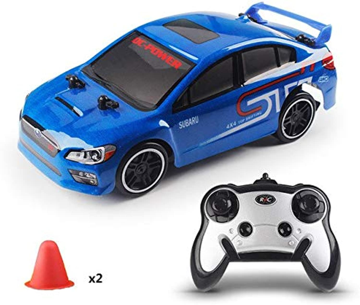 Generic 1 24 2.4G Drift Speed Wireless 4 Channel Remote Control Racing Car 30KM H High Speed 4WD Drift Racing Car Truck Toy Gift bluee