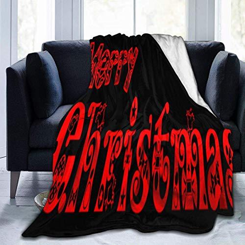 Fleece Blanket Feliz Navidad Texto PNG Acogedora Manta De Lana De Franela Hogar Cama Liviana Manta Cálida Silla 102X127Cm Sofá Todas Las Estaciones Suave Especial para El Dormitor