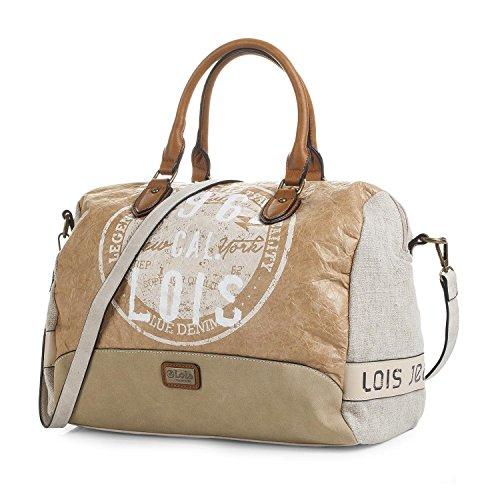 Lois - Handtasche für Damen mit 2 Obere Griffe und Schultertasche. Canvas und Kunstleder PU. Bowling Bag. Praktisch für Reisen oder Einkaufen 92447, Color Beig