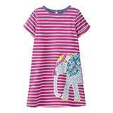 VIKITA Mädchen Baumwolle Langarm Streifen Tiere T-Shirt Kleid EINWEG JM6267 8T