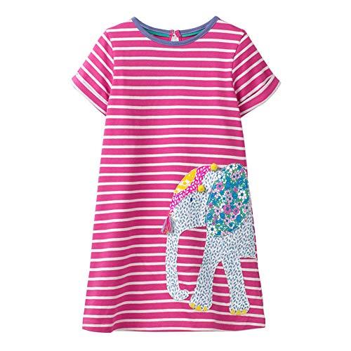 VIKITA Mädchen Baumwolle Langarm Streifen Tiere T-Shirt Kleid EINWEG JM6267 7T