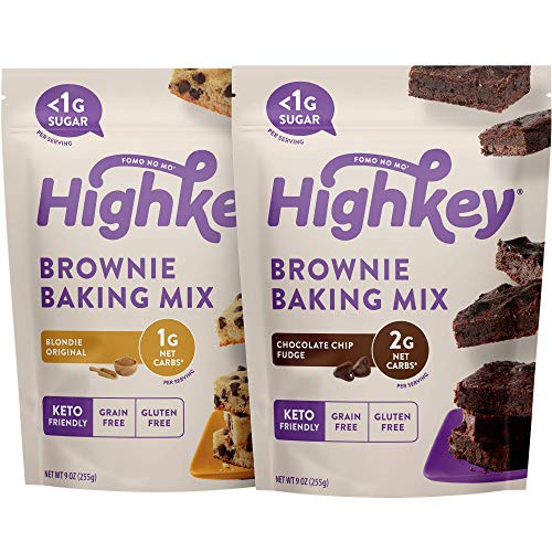 HighKey Keto Snacks  Low Carb Fudge Brownie Mix amp Original Blondie Brownie Mix  Gluten amp Grain Free Foods  No Sugar Added Sweets  Diabetic amp Paleo Friendly Desserts  2 Pack Brownie Mix Bundle