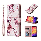 Gloryshop Stylish Shiny Marble Design Hand Strap 3 Card Slots Folio Flip Premium PU Leather Wallet Phone Case Compatible with Samsung Galaxy A21, Rose Gold