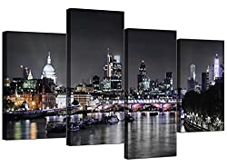 MODERN 4-PART MULTI-PANEL CANVAS STRETCHED & FRAMED - READY and EASY to HANG OVERALL SIZE 130cm WIDE x 67.5cm HIGH BRAND - ORIGINAL WALLFILLERS - PREMIUM QUALITY CANVAS DELIVERY - SHIPPED SECURELY NEXT BUSINESS DAY