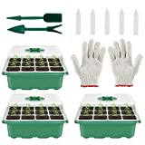 Invernadero de interior, bandejas de cultivo, juego de mini invernadero, plantas de cultivo, bandejas de iniciación, para casa, granja y balcón, 12 agujeros