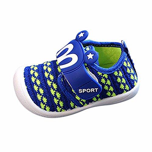 Dorical Unisex Baby Quietsche Schuhe Hasenohren Squeaky Krabbelschuhe für Jungen und Mädchen, Cartoon Anti-Rutsch-Schuhe Soft Sole Lauflernschuhe Sneakers Größe 6-36 Monate(Blau,19 EU)
