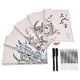 Junluck Caderno de caligrafia padrão tridimensional, caligrafia infantil reutilizável, para adultos, suprimentos escolares, crianças